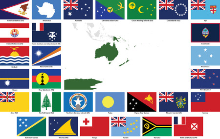 oceania: Set of flags and maps of all Oceanian  countries and dependent territories.  All flags have accurate colors and design and are in 3x2 rectangular proportions.  Flags and maps of each country are grouped together for easy usage.