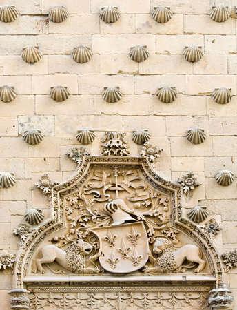 ravel: Facade of the Casa de las Conchas in Salamanca, Castilla y Leon, Spain.  Dates from the end of the 15th century, it is a famous landmark of Salamanca