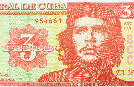 che guevara: Close-up of three peso banknote from Cuba.  Ernesto Che Guevara on the front. Stock Photo