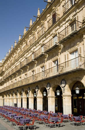 Cafe in Plaza Mayor in Salamanca, which dates from the beginning of the 18th century. Stock Photo