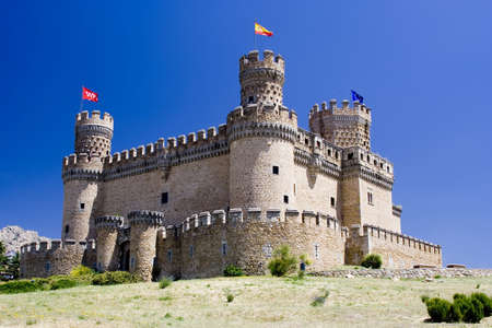 15th century: Mendoza Castle at Manzanares El Real in Madrid province, Spain.  A fortress-palace from the 15th century, it is the best preserved castle in the Community of Madrid