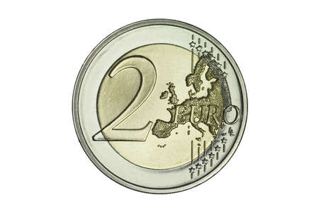 flawless: Close-up of a flawless uncirculated two Euro coin. Stock Photo