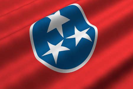 tennesse: Detallada portarretrato de representaci�n 3d de la bandera del Estado de Tennessee. Bandera tiene una textura fabric realista detallada.  Foto de archivo