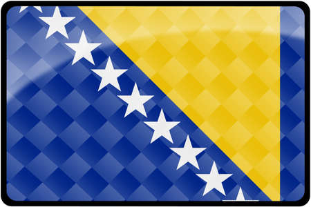 bosnian: Stylish Bosnian flag rectangular button with diamond pattern overlay.  Part of set of country flags all in 2:3 proportion with accurate design and colors. Stock Photo