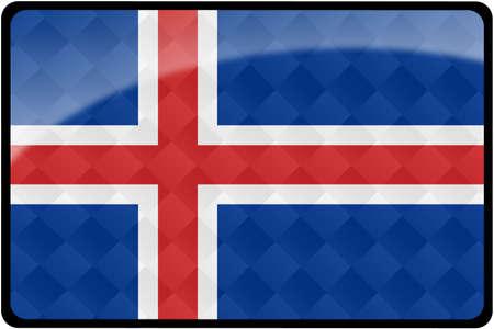 icelandic flag: Bandera de Islandia elegante bot�n rectangular con superposici�n de patr�n de diamante.  Parte del conjunto de indicadores de pa�s en proporci�n de 2: 3 con dise�o preciso y colores.