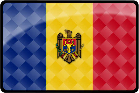 moldovan: Stylish Moldovan flag rectangular button with diamond pattern overlay.  Part of set of country flags all in 2:3 proportion with accurate design and colors.