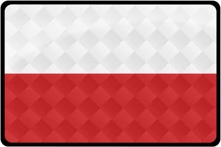 polish flag: Stylish Polish flag rectangular button with diamond pattern overlay.  Part of set of country flags all in 2:3 proportion with accurate design and colors.
