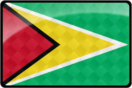guyanese: Stylish Guyanese flag rectangular button with diamond pattern overlay.  Part of set of country flags all in 2:3 proportion with accurate design and colors. Stock Photo
