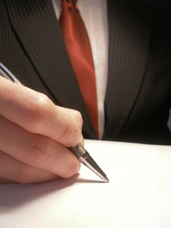 undersign: business man signing or writing