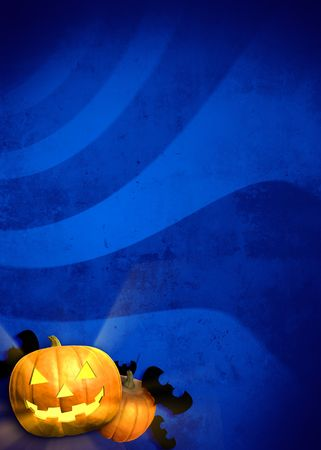 cucurbit: Blue grungy halloween background with jack-o-lantern, pumpkin and bats ornaments in the lower left corner and a lot copy space for your content