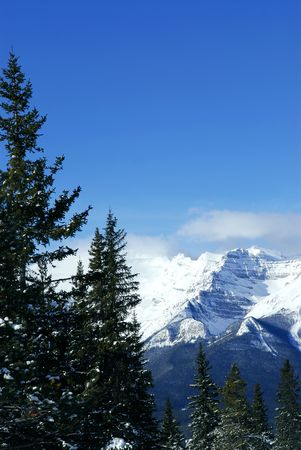 Scenic winter mountain landscape in Canadian Rockies photo