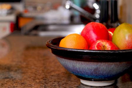 Interior of a modern kitchen with natural granite countertop Stock Photo - 838042