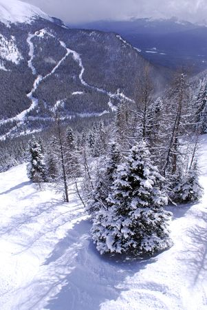 Scenic winter mountain landscape at downhill ski resort in Canadian Rockies photo
