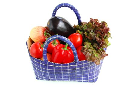 Fresh vegetables and fruits in a basket isolated on white background Stock Photo - 880221