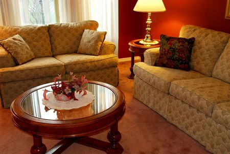 room accent: Interior of a cozy living room with sofas and coffee table