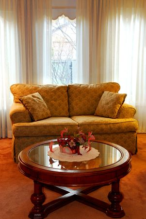 furnishings: Interior of a cozy living room with sofa and coffee table