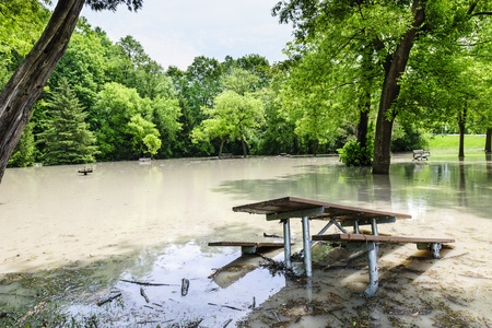 FLOODING: Picnic area of Sunnybrook park in Toronto flooded after heavy rains Stock Photo