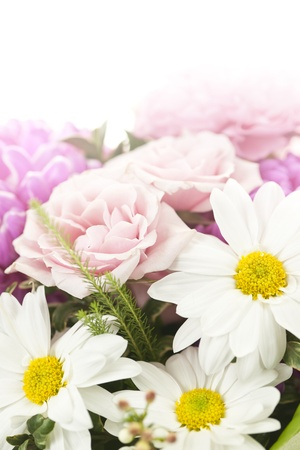 fading: Fading background of flower arrangement with pink and white flowers Stock Photo