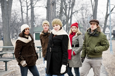 Group of diverse young people outdoors in winter park Stock Photo - 20785484