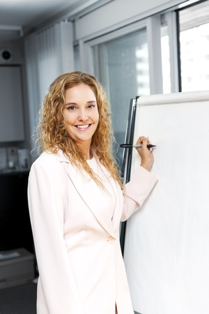 Smiling businesswoman writing on flip chart paper in office photo