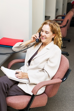 cubby: Happy businesswoman on phone taking notes in office workstation