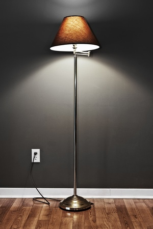 floor lamp: Tall floor lamp with metal base and dark lampshade on hardwood flooring in room