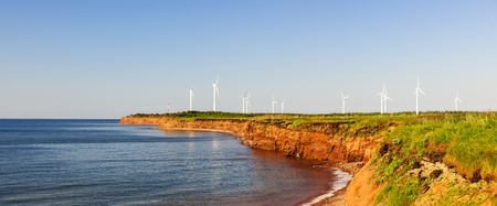 edward: Panoramic view of wind power generators at North Cape, Prince Edward Island, Canada