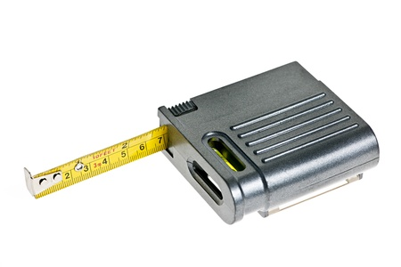 centimetres: Gray tape measure with level isolated on white background