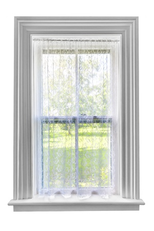 windows frame: Window and sill with sheer lace curtains isolated on white background