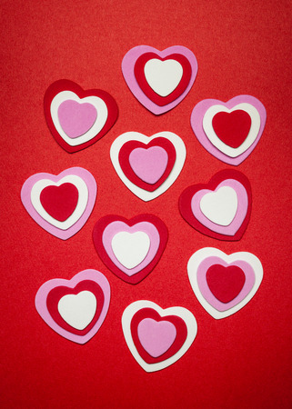red pink: Romantic red pink and white hearts for Valentines day Stock Photo
