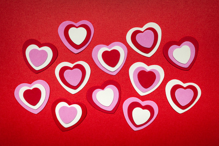 Romantic red pink and white hearts for Valentines day Stock Photo - 24001286