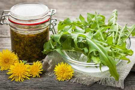 green's: Foraged edible dandelions flowers and greens with jar of dandelion preserve