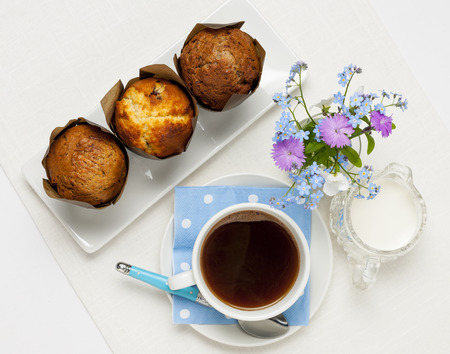 small cake: Breakfast of three muffins and coffee from above