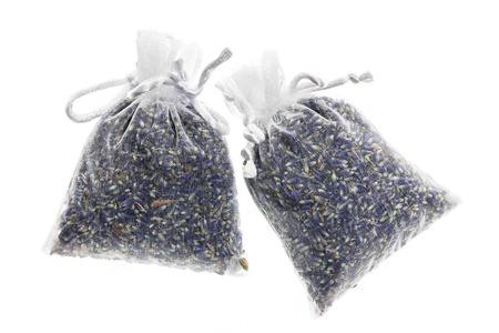 sachets: Two sachets with dry lavender flowers isolated on white background Stock Photo