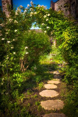 Jardín de verano con el camino pavimentado y enrejado