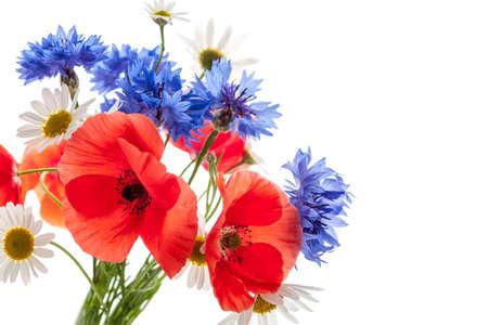 Cornflower: Bouquet of wildflowers - poppies, daisies, cornflowers Stock Photo
