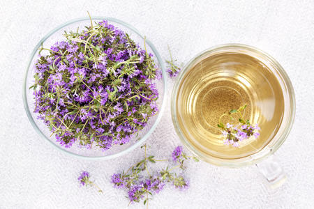 teas: Bowl of fresh thyme sprigs with herbal tea in cup from above Stock Photo