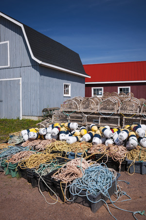 Floats, rope and lobster traps in North Rustico, Prince Edward Island, Canada. photo