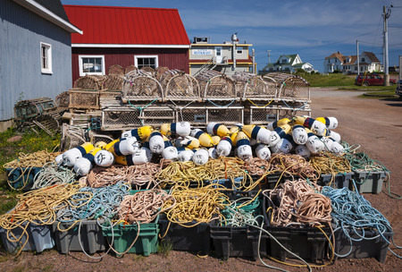 edward: Floats, rope and lobster traps in North Rustico, Prince Edward Island, Canada.