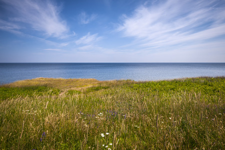 cliff edge: View of Atlantic ocean from cliff edge in Prince Edward Island, Canada. Stock Photo