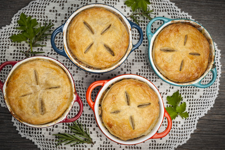 meat pie: Four individual size meat pot pies from above