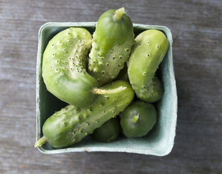 Box of freshly picked garden cucumbers on old wooden background