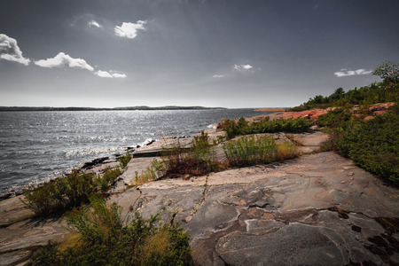 huron: Georgian Bay landscape with rugged rocky lake shore near Parry Sound, Ontario, Canada.