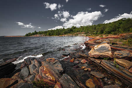 Georgian Bay landscape with rugged rocky lake shore near Parry Sound, Ontario, Canada. photo
