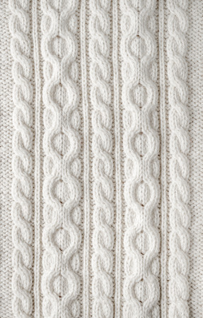 close knit: Knit texture of white wool knitted fabric with cable pattern as background