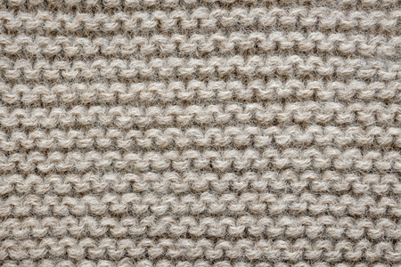 close knit: Knit texture of undyed natural brown alpaca wool knitted fabric with garter stitch pattern as background
