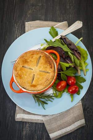 meat pie: Gourmet meat pie with garden salad served on plate from above Stock Photo