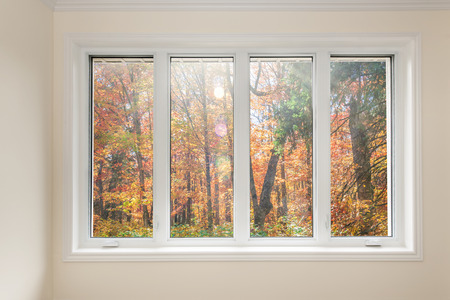 window: Large four pane window looking on colorful fall forest Stock Photo