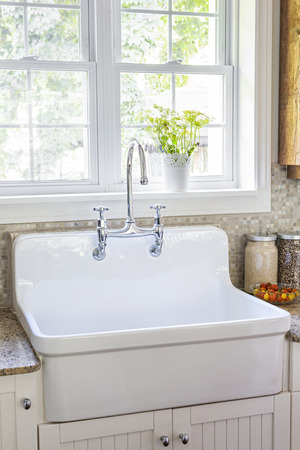 Kitchen Interior With Rustic White Porcelain Sink And Granite.. Stock  Photo, Picture And Royalty Free Image. Image 35874391.
