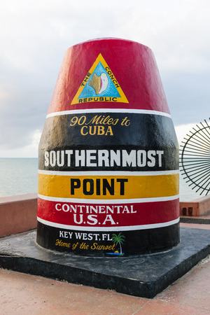 continental united states: KEY WEST, FL - DECEMBER 29: Southernmost point buoy marker in continental USA in Key West, Florida 2014.